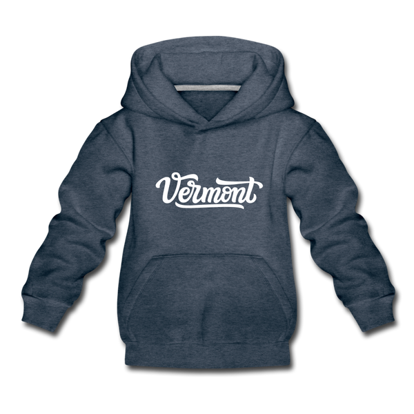 Vermont Youth Hoodie - Hand Lettered Youth Vermont Hooded Sweatshirt - heather denim