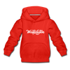 Washington Youth Hoodie - Hand Lettered Youth Washington Hooded Sweatshirt - red