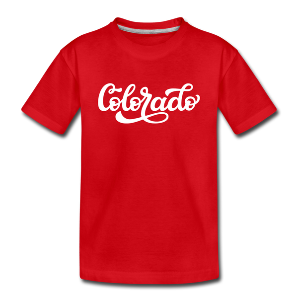 Colorado Toddler T-Shirt - Hand Lettered Colorado Toddler Tee - red