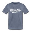 Colorado Toddler T-Shirt - Hand Lettered Colorado Toddler Tee - heather blue