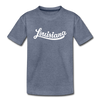 Louisiana Toddler T-Shirt - Hand Lettered Louisiana Toddler Tee - heather blue