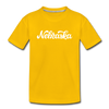Nebraska Toddler T-Shirt - Hand Lettered Nebraska Toddler Tee - sun yellow