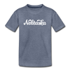 Nebraska Toddler T-Shirt - Hand Lettered Nebraska Toddler Tee - heather blue