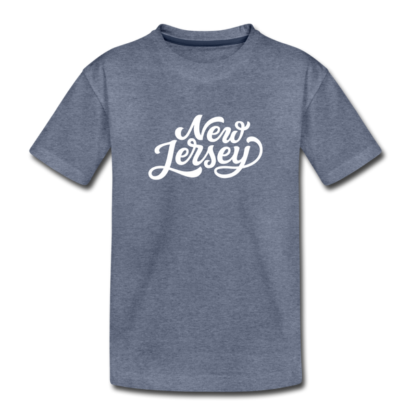 New Jersey Toddler T-Shirt - Hand Lettered New Jersey Toddler Tee - heather blue