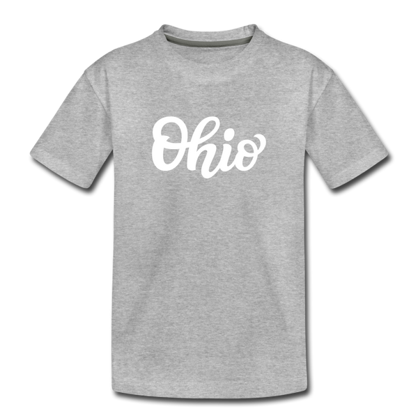 Ohio Toddler T-Shirt - Hand Lettered Ohio Toddler Tee - heather gray