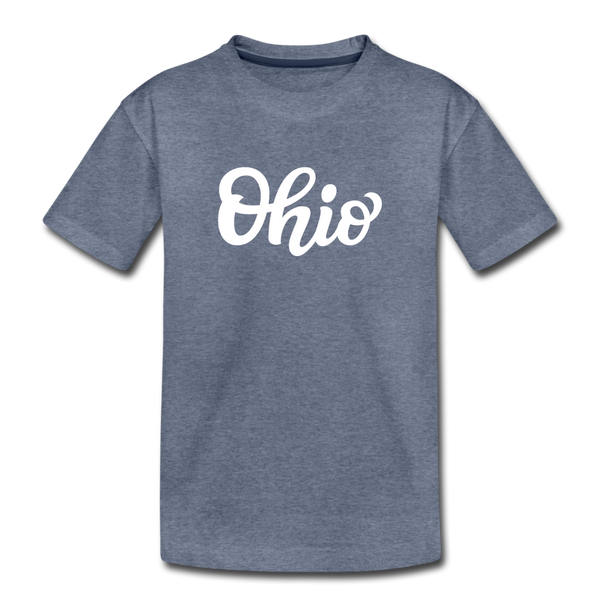 Ohio Toddler T-Shirt - Hand Lettered Ohio Toddler Tee - heather blue