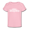 New Hampshire Baby T-Shirt - Organic Hand Lettered New Hampshire Infant T-Shirt - light pink