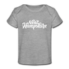 New Hampshire Baby T-Shirt - Organic Hand Lettered New Hampshire Infant T-Shirt - heather gray
