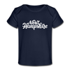 New Hampshire Baby T-Shirt - Organic Hand Lettered New Hampshire Infant T-Shirt - dark navy