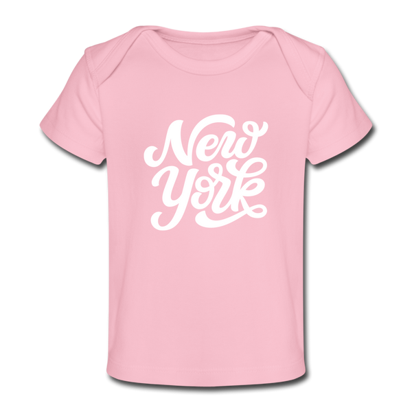 New York Baby T-Shirt - Organic Hand Lettered New York Infant T-Shirt - light pink
