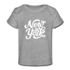 New York Baby T-Shirt - Organic Hand Lettered New York Infant T-Shirt - heather gray