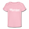 Mississippi Baby T-Shirt - Organic Hand Lettered Mississippi Infant T-Shirt - light pink