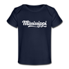 Mississippi Baby T-Shirt - Organic Hand Lettered Mississippi Infant T-Shirt - dark navy