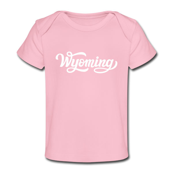 Wyoming Baby T-Shirt - Organic Hand Lettered Wyoming Infant T-Shirt - light pink