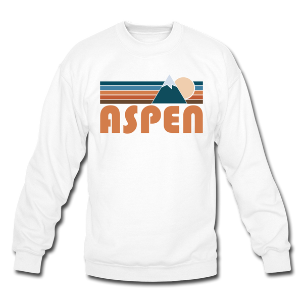 Aspen, Colorado Sweatshirt - Retro Mountain Aspen Crewneck Sweatshirt - white