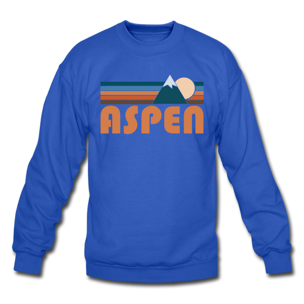 Aspen, Colorado Sweatshirt - Retro Mountain Aspen Crewneck Sweatshirt - royal blue