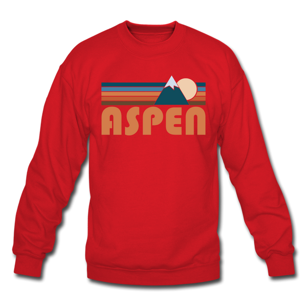 Aspen, Colorado Sweatshirt - Retro Mountain Aspen Crewneck Sweatshirt - red