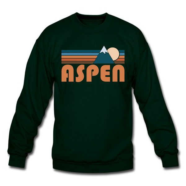 Aspen, Colorado Sweatshirt - Retro Mountain Aspen Crewneck Sweatshirt - forest green