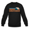 California Sweatshirt - Retro Mountain California Crewneck Sweatshirt - black