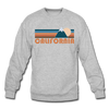 California Sweatshirt - Retro Mountain California Crewneck Sweatshirt - heather gray