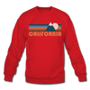 California Sweatshirt - Retro Mountain California Crewneck Sweatshirt - red