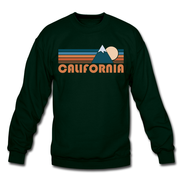 California Sweatshirt - Retro Mountain California Crewneck Sweatshirt - forest green