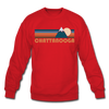 Chattanooga, Tennessee Sweatshirt - Retro Mountain Chattanooga Crewneck Sweatshirt - red