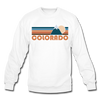 Colorado Sweatshirt - Retro Mountain Colorado Crewneck Sweatshirt - white