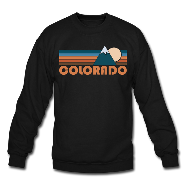 Colorado Sweatshirt - Retro Mountain Colorado Crewneck Sweatshirt - black