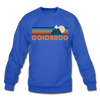 Colorado Sweatshirt - Retro Mountain Colorado Crewneck Sweatshirt - royal blue