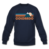 Colorado Sweatshirt - Retro Mountain Colorado Crewneck Sweatshirt - navy