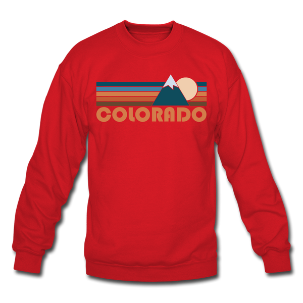 Colorado Sweatshirt - Retro Mountain Colorado Crewneck Sweatshirt - red