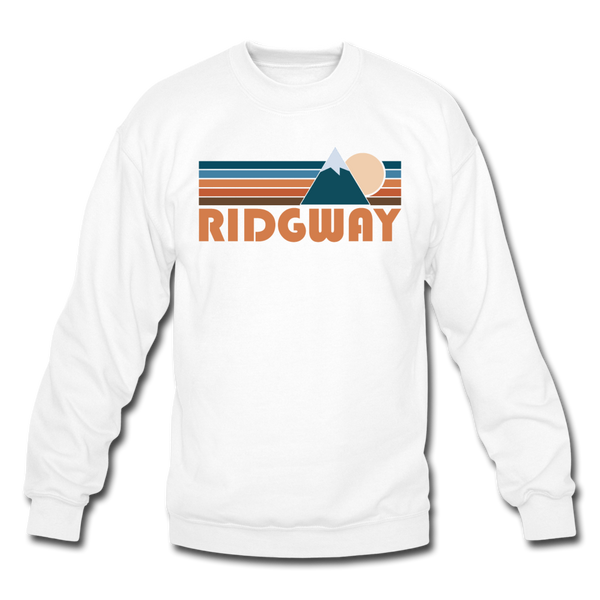 Ridgway, Colorado Sweatshirt - Retro Mountain Ridgway Crewneck Sweatshirt - white