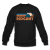 Ridgway, Colorado Sweatshirt - Retro Mountain Ridgway Crewneck Sweatshirt - black