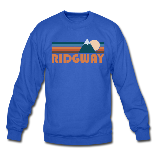 Ridgway, Colorado Sweatshirt - Retro Mountain Ridgway Crewneck Sweatshirt - royal blue
