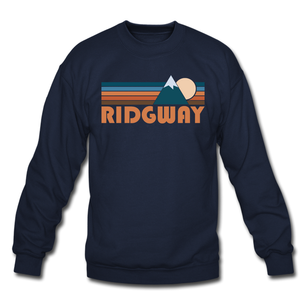 Ridgway, Colorado Sweatshirt - Retro Mountain Ridgway Crewneck Sweatshirt - navy