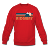 Ridgway, Colorado Sweatshirt - Retro Mountain Ridgway Crewneck Sweatshirt - red