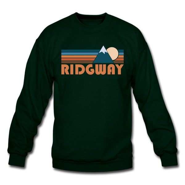 Ridgway, Colorado Sweatshirt - Retro Mountain Ridgway Crewneck Sweatshirt - forest green