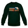 Park City, Utah Sweatshirt - Retro Mountain Park City Crewneck Sweatshirt - forest green