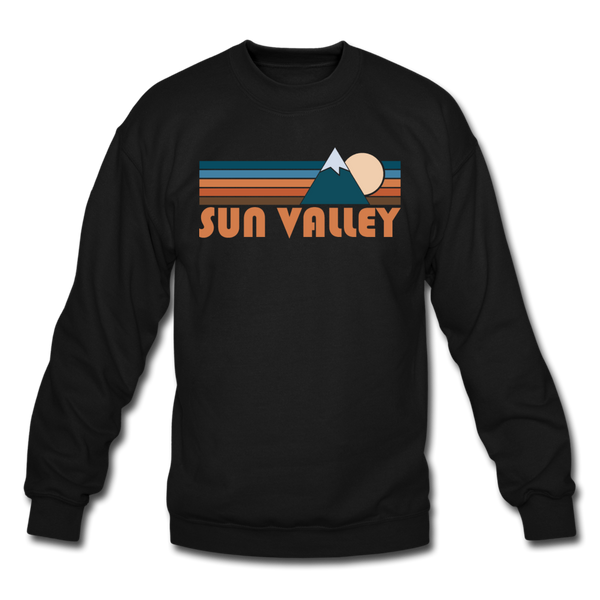 Sun Valley, Idaho Sweatshirt - Retro Mountain Sun Valley Crewneck Sweatshirt - black