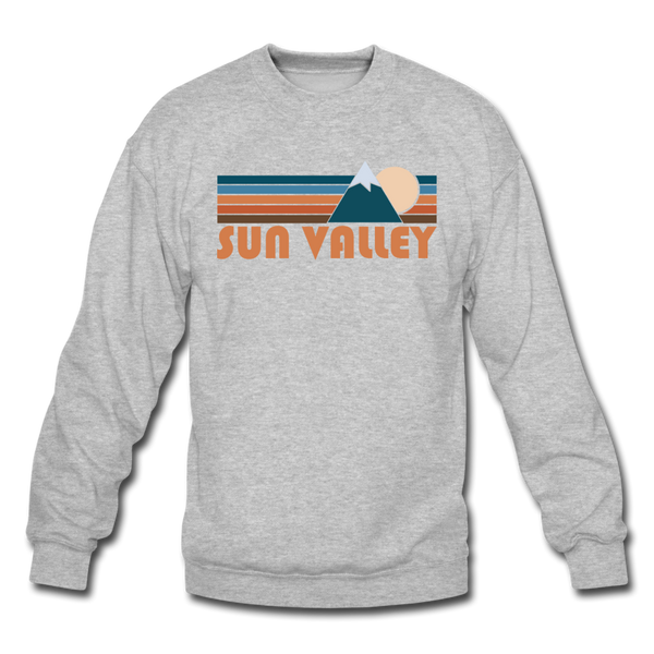 Sun Valley, Idaho Sweatshirt - Retro Mountain Sun Valley Crewneck Sweatshirt - heather gray