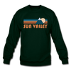 Sun Valley, Idaho Sweatshirt - Retro Mountain Sun Valley Crewneck Sweatshirt - forest green