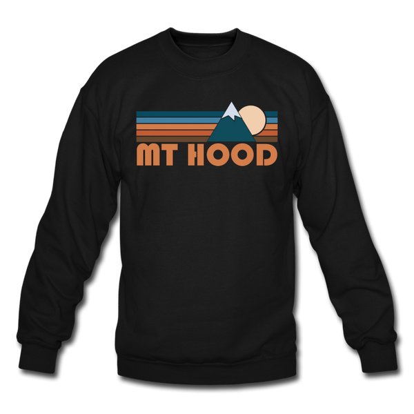 Mount Hood, Oregon Sweatshirt - Retro Mountain Mount Hood Crewneck Sweatshirt - black