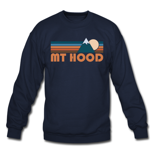 Mount Hood, Oregon Sweatshirt - Retro Mountain Mount Hood Crewneck Sweatshirt - navy