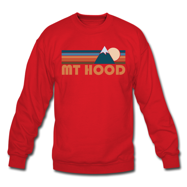 Mount Hood, Oregon Sweatshirt - Retro Mountain Mount Hood Crewneck Sweatshirt - red