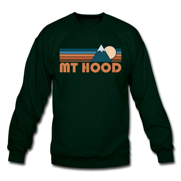 Mount Hood, Oregon Sweatshirt - Retro Mountain Mount Hood Crewneck Sweatshirt - forest green