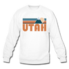 Utah Sweatshirt - Retro Mountain Utah Crewneck Sweatshirt - white