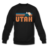 Utah Sweatshirt - Retro Mountain Utah Crewneck Sweatshirt - black