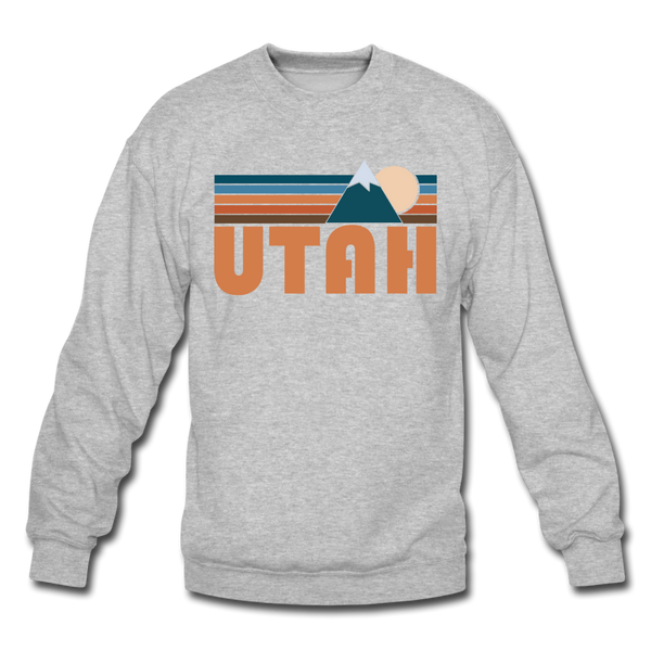 Utah Sweatshirt - Retro Mountain Utah Crewneck Sweatshirt - heather gray