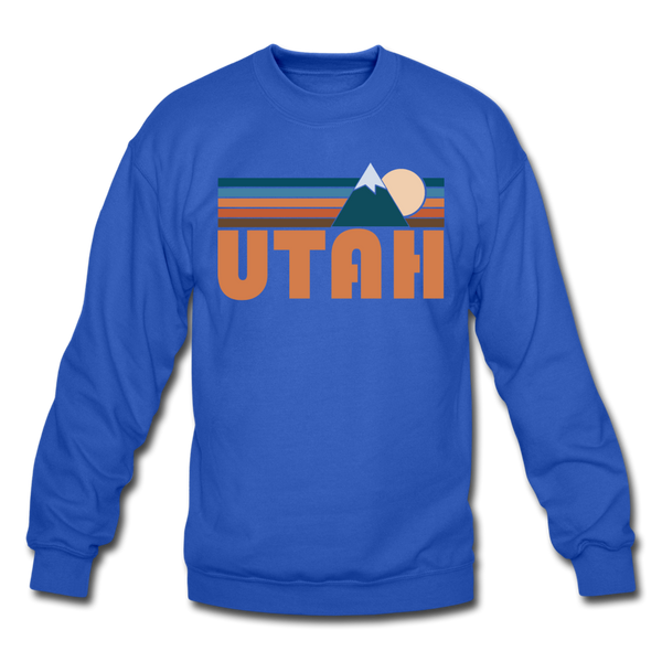 Utah Sweatshirt - Retro Mountain Utah Crewneck Sweatshirt - royal blue